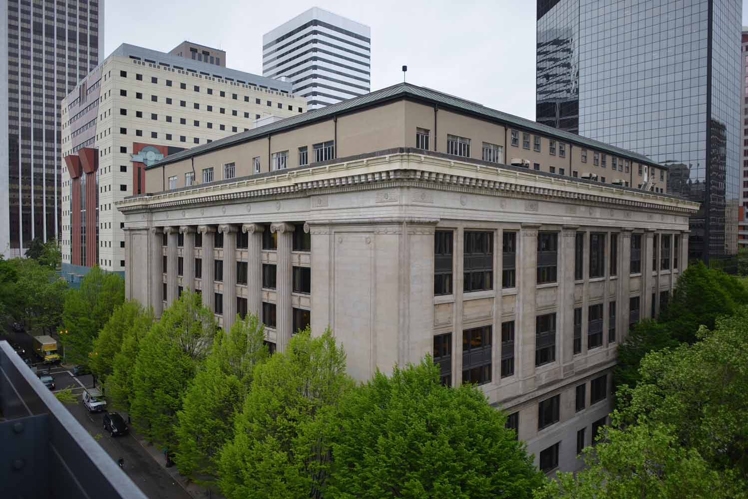 The Multnomah County Courthouse, in downtown Portland, Oregon.