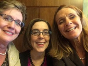 selfie of Doris Penwell, Governor Brown, Mary Stern