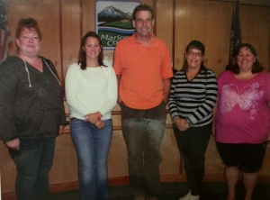 Marion County Fair Board L-R - Shannon Gubbels, Brandi Buxton, Nathan Leao, Pam Zielinski, Amy Goulter-Allen. Missing - Joel Conder, Dlyan Wells