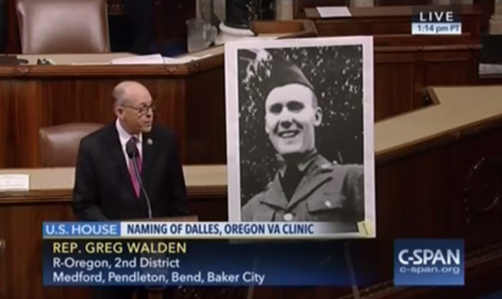 U.S. House of Representatives today unanimously approved a bill championed by Rep. Greg Walden (R-Hood River) to rename The Dalles veterans' clinic after Sergeant First Class Loren R. Kaufman C-SPAN screen shoot