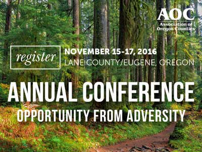 AOC 2016 Annual Conference banner, forest background with white letters