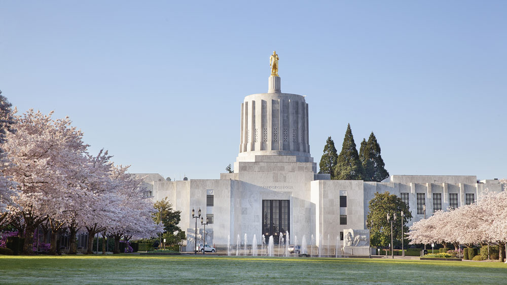 Oregon State Capitol in springtime