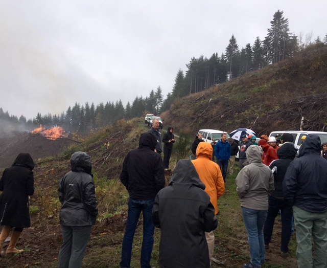 A look at a large debris pile burning efficiently. Note the low amount of smoke.