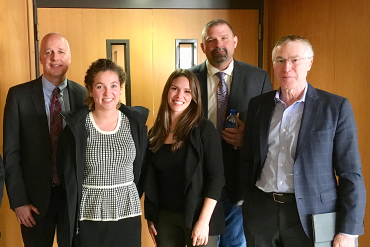 Post hearing photo op: OWRD Director Tom Byler; Hannah Fatland, Project Manager for Lower John Day PBP; Rianne BeCraft, Project Manager for Malheur Basin PBP; Harney Commissioner Mark Owens, Co-Convener of Malheur Basin PBP; Greg Wolf, AOC, County Solutions Director.