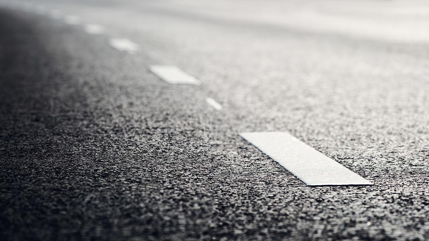 Asphalt road and dividing lines