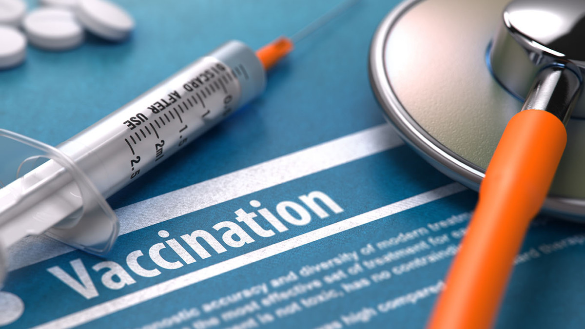Vaccination. Medical Concept on Blue Background.
